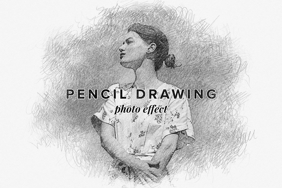 铅笔素描照片效果样机 Pencil Drawing Photo Effect