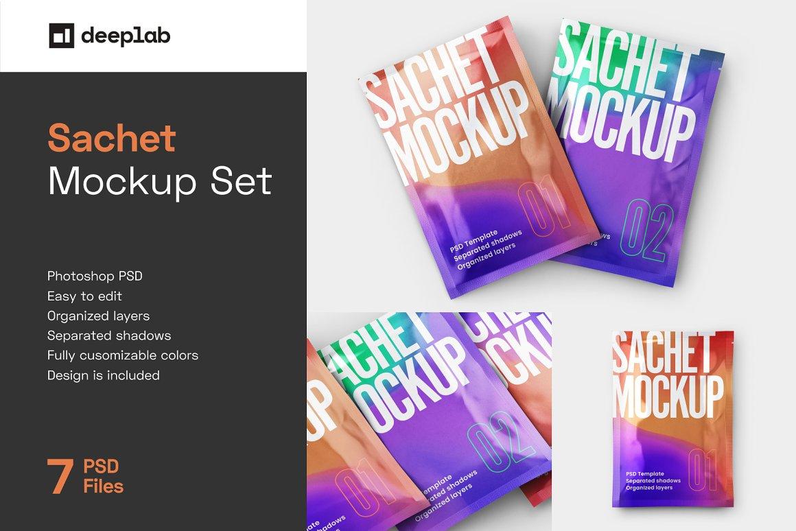 香料调味品样机模型 Sachet Mockup Set