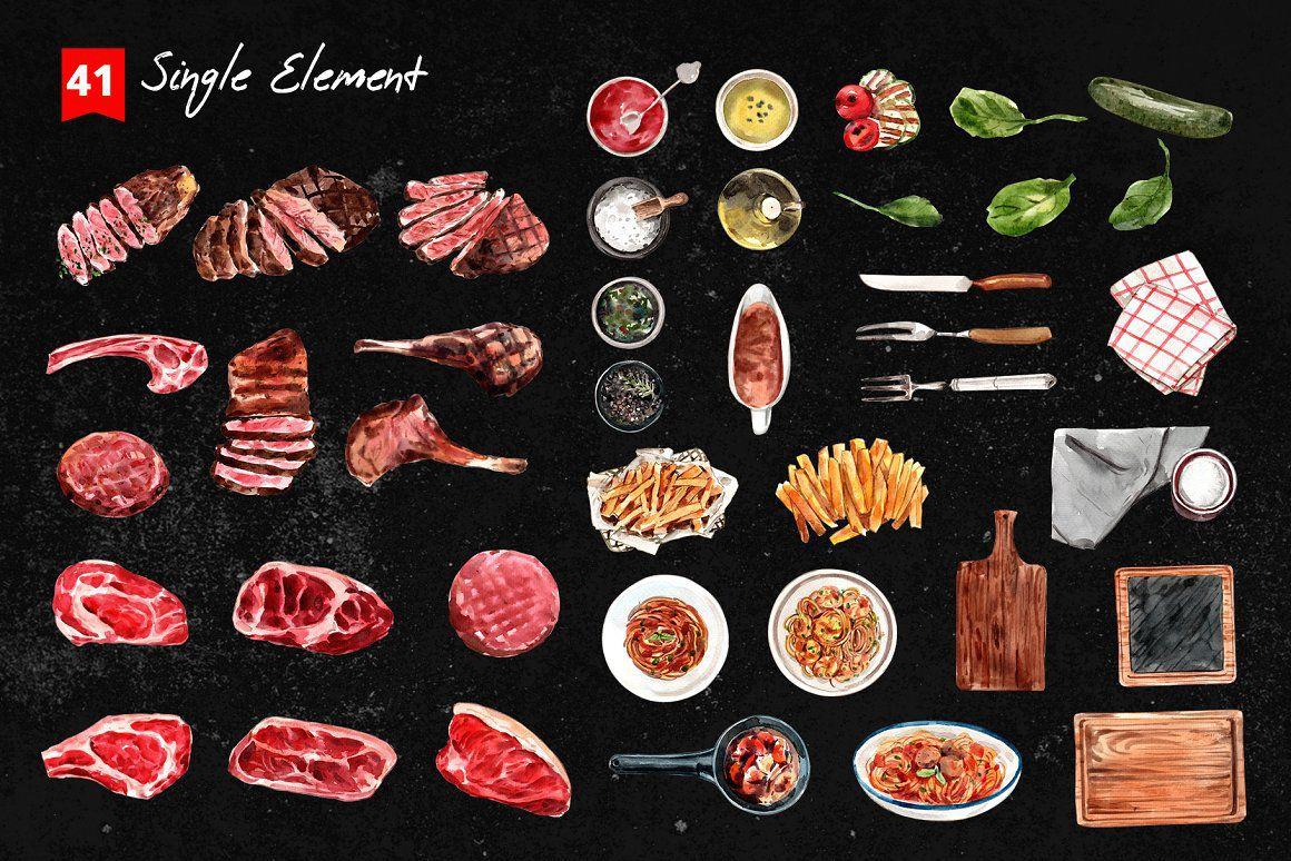 牛排美食食谱水彩元素合集