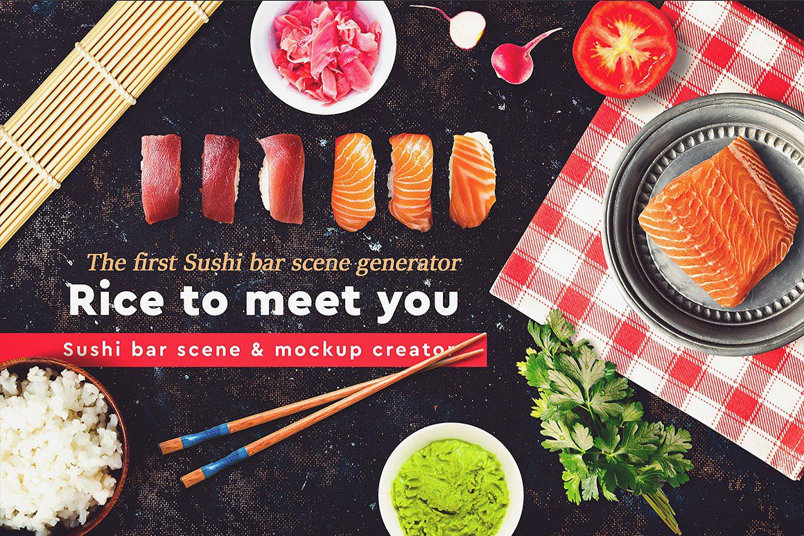 寿司场景和模型生成器 Sushi Bar Scene and Mock-up Creator