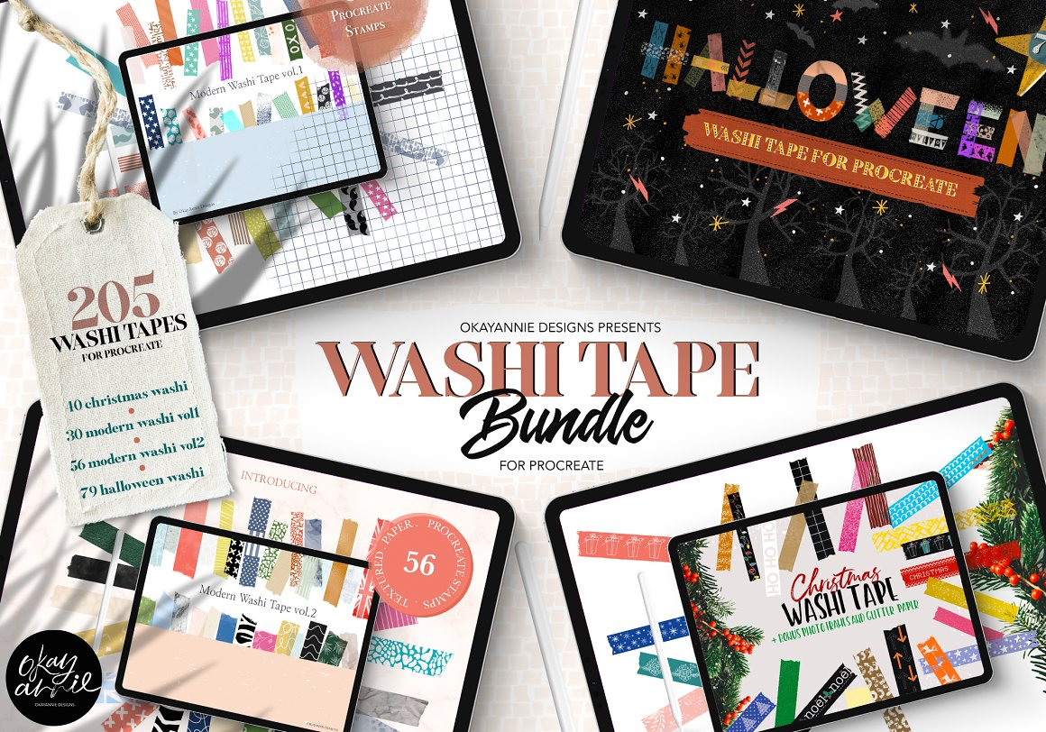205个纸制胶带包装笔刷 Washi Tape Bundle for Procreate