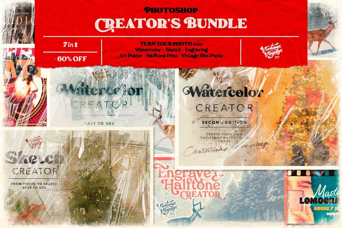 水彩画/素描/雕刻/半色调/艺术海报样机模板 Photoshop Creator's Bundle