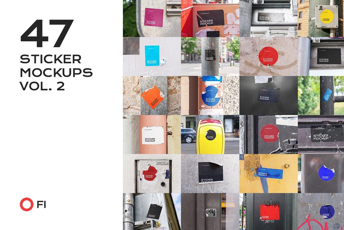 47个户外小广告贴纸样机合集 sticker mockup bundle