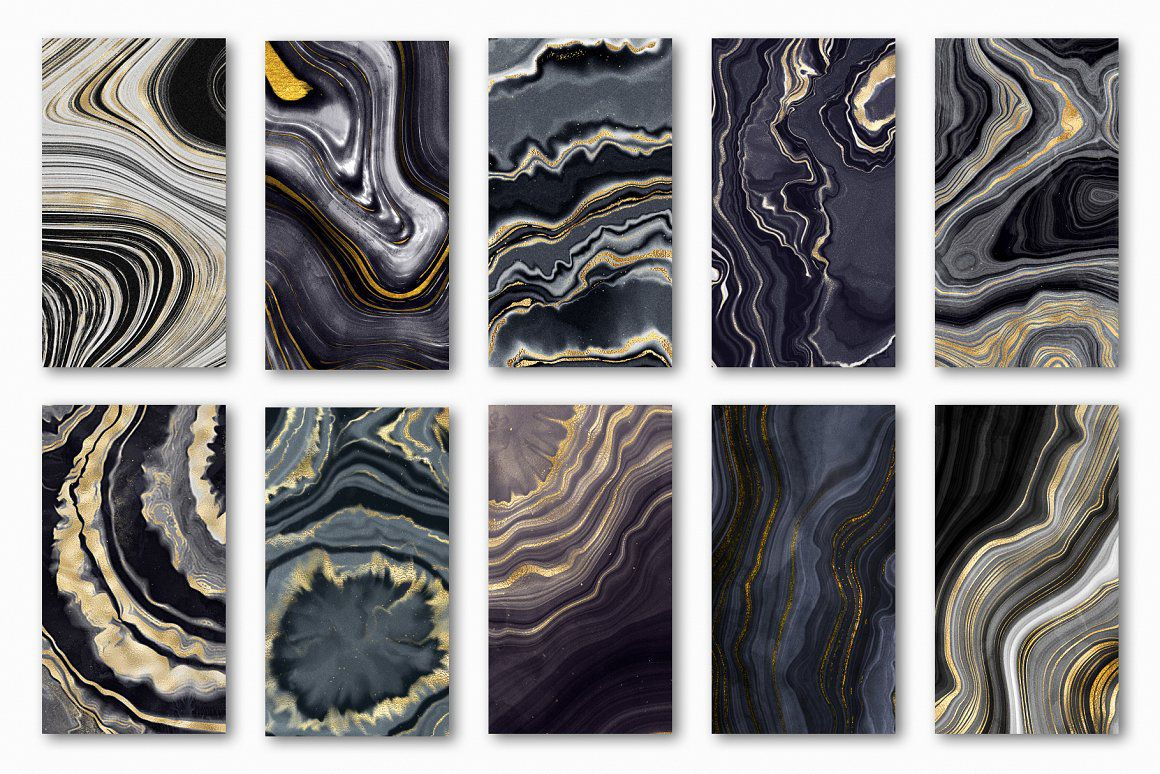 玛瑙,大理石和金色纹理背景合集