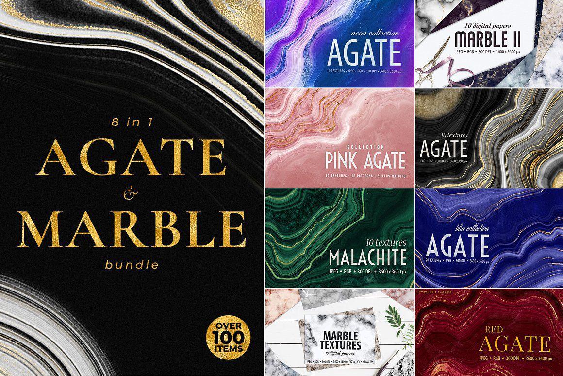 玛瑙,大理石和金色纹理背景合集 Agate, Marble & Gold Textures Bundle