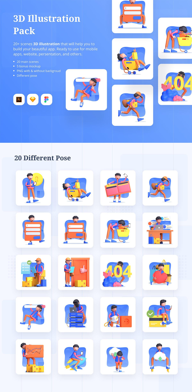 多状态3D人物矢量插图