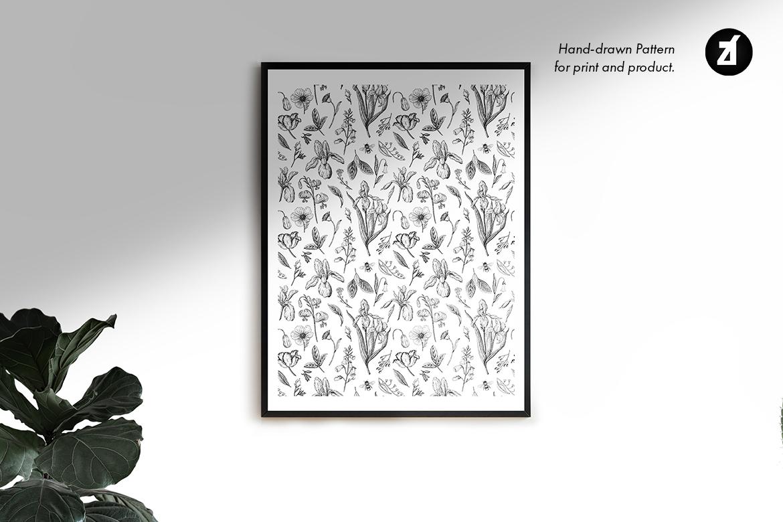 花饰复古手绘插图图案