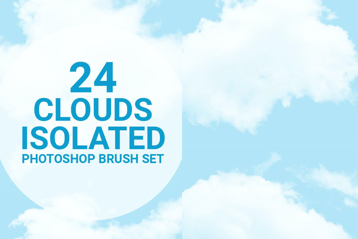 24种独立的云彩PS笔刷集 Cloud Isolated Photoshop Brushes Set