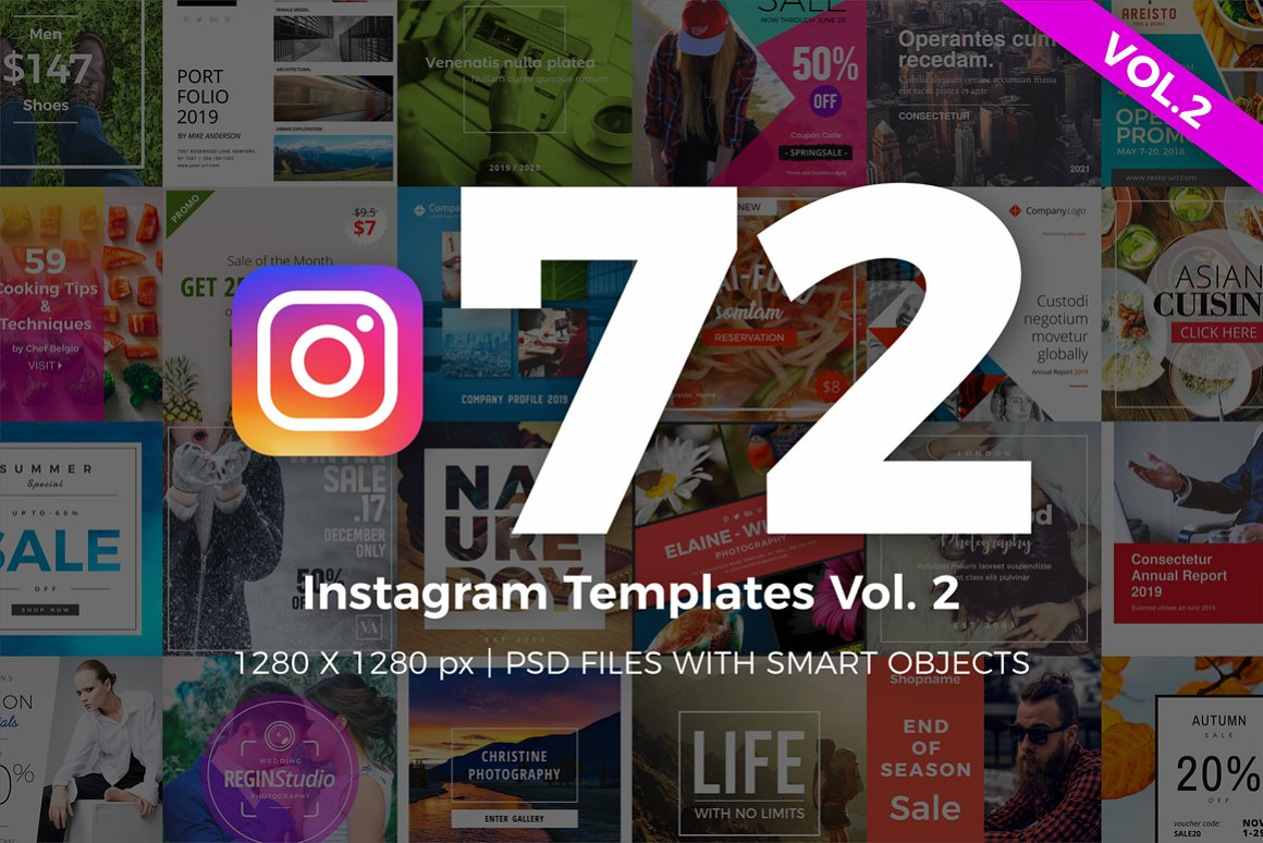 72张正方形社交营销微博微信朋友圈Instagram模板