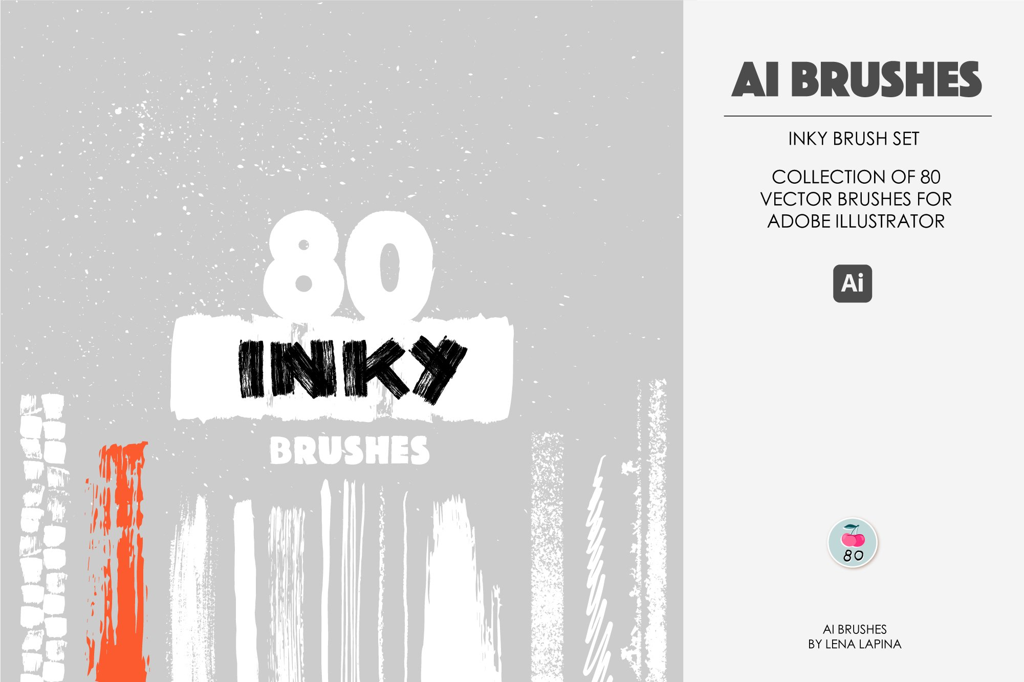 80款水墨毛笔绘画AI矢量笔刷素材 Inky Brushes for Illustrator