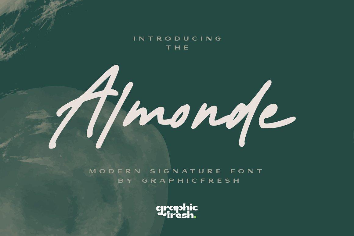 现代签名英文字体 Almonde
