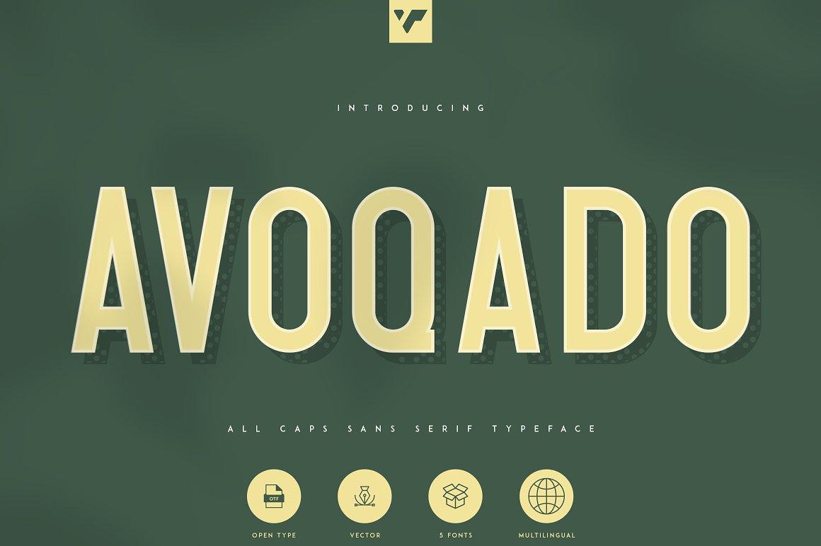 5种字体样式复古英文字体 Avoqado-All Caps Sans Typeface