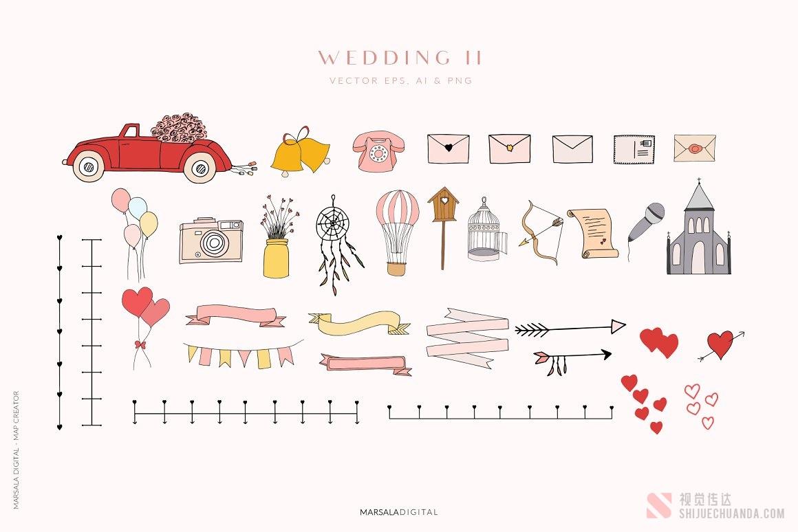 地图婚礼夏季旅行元素