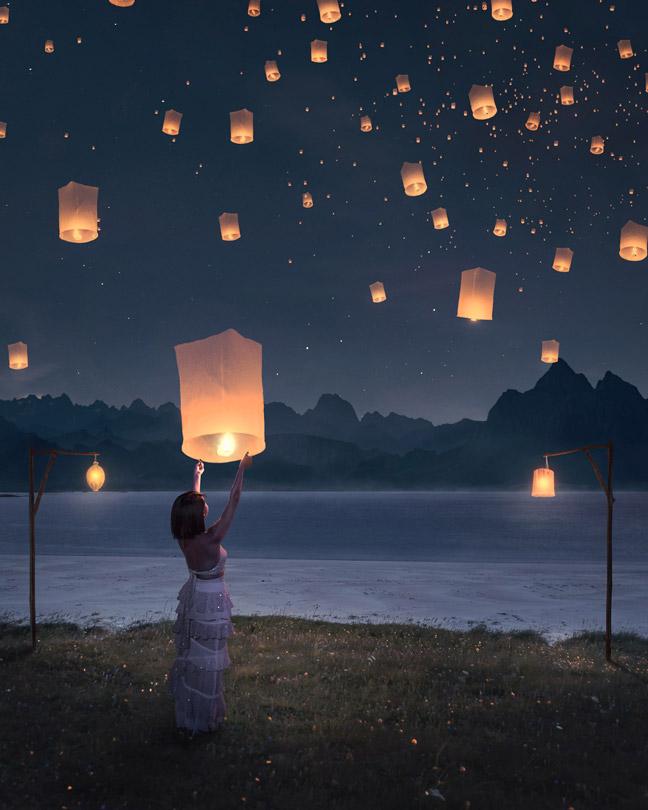 灯笼,萤火虫,瀑布,银河系,草,雾,云笔刷