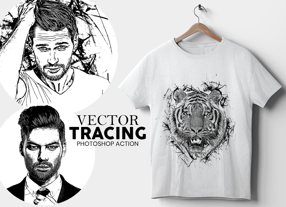 黑白水墨效果PS动作 Vector Tracing Photoshop Action