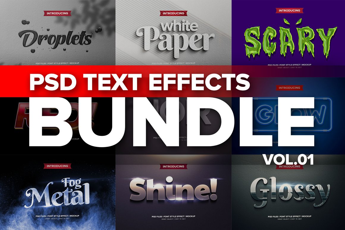 3D文字效果样机PSD模板 Photoshop 3D Text Effects BUNDLE