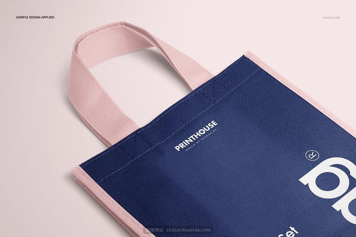 无纺布编织环保购物袋品牌VI提案样机模板