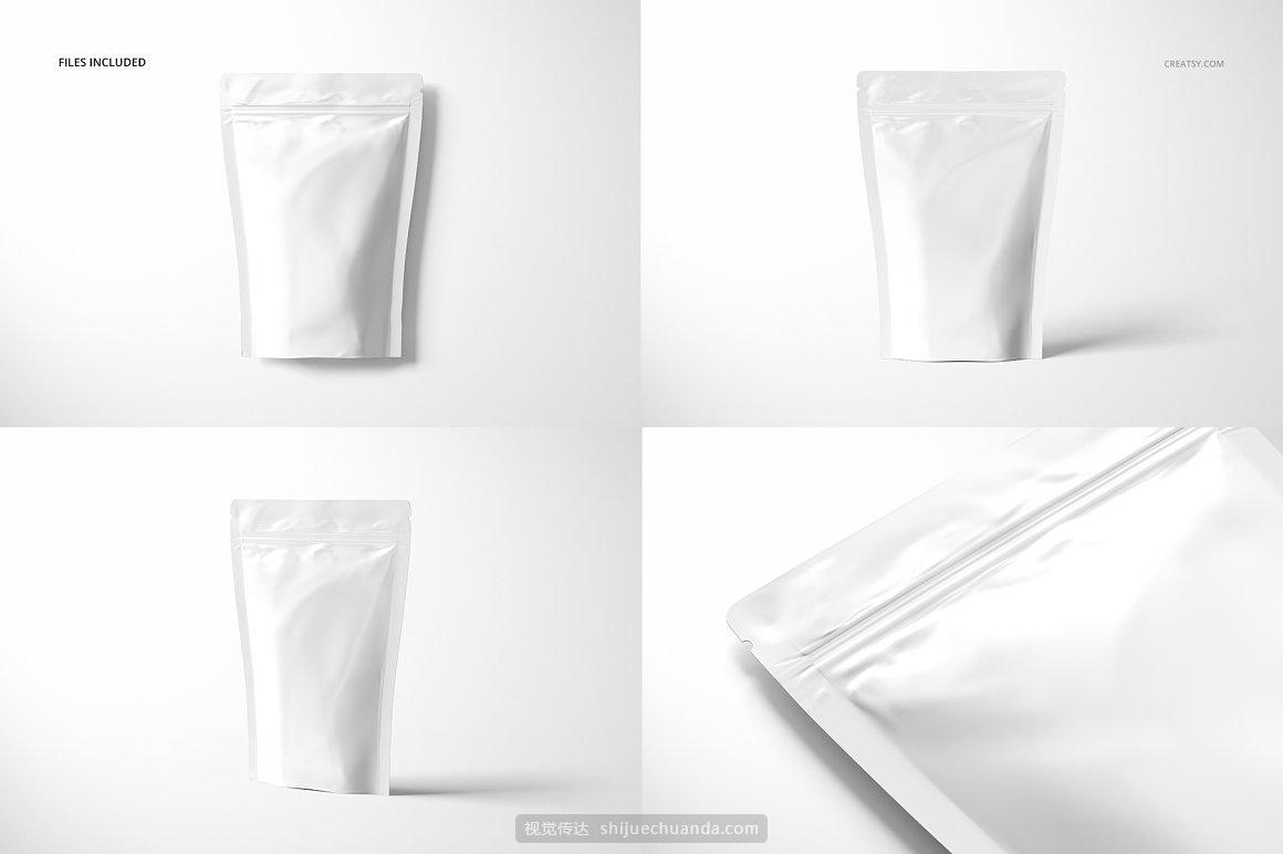 真空自封袋铝箔袋食品塑料包装袋设计样机模板