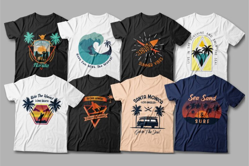 夏季冲浪T恤设计图形包