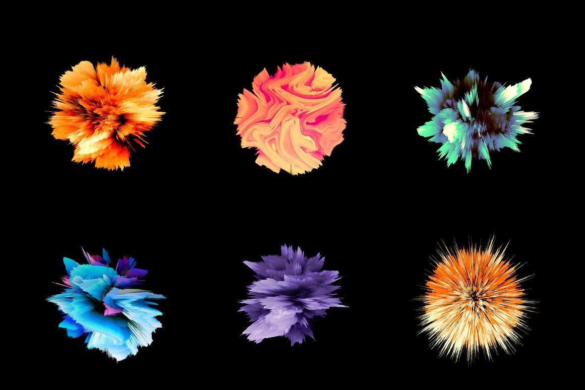 彩色爆炸效果元素