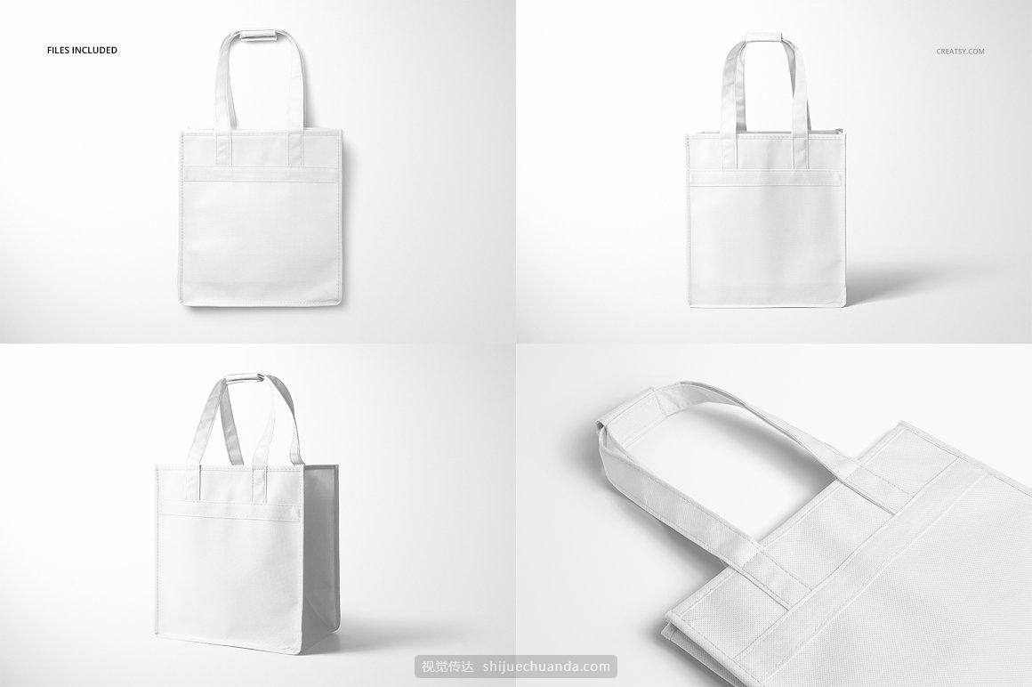 无纺布手提袋葡萄酒袋包装设计样机PSD模板