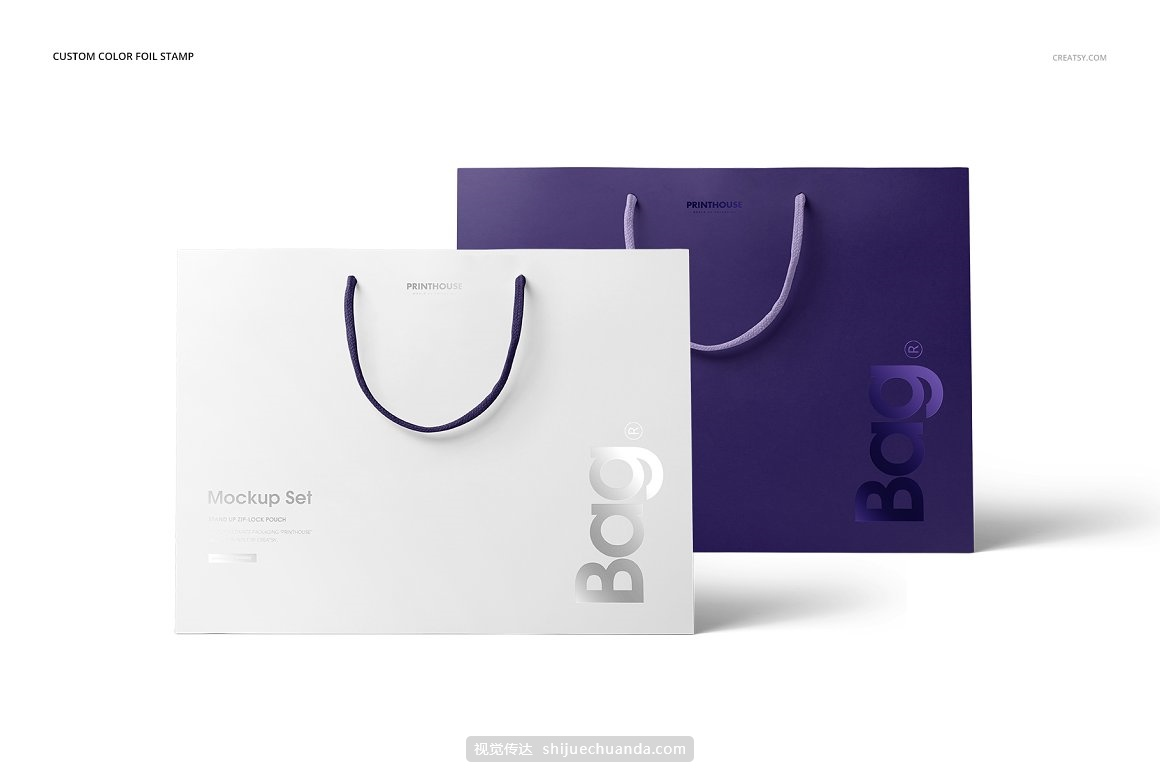 环保手提购物袋品牌包装设计提案样机模板