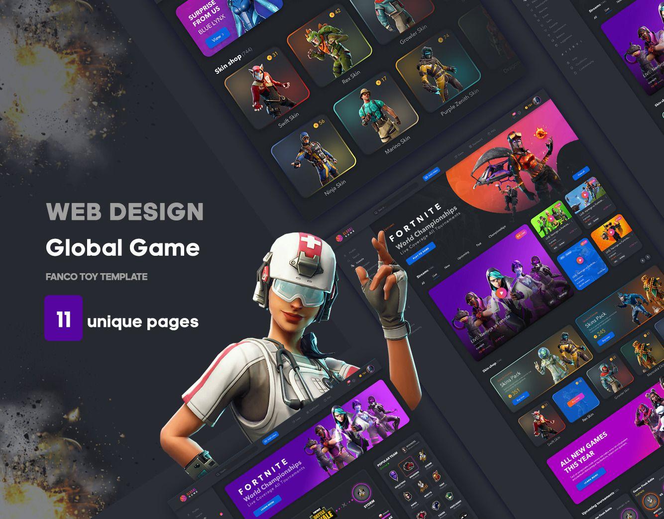 全套游戏网站Web UI套件