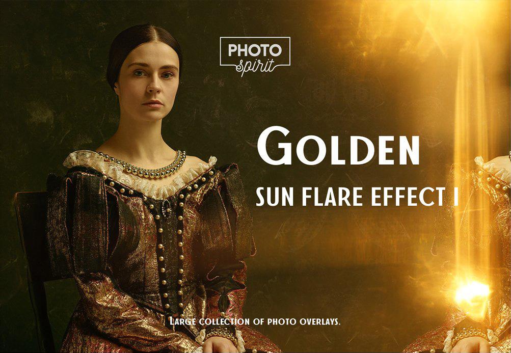 金色太阳耀斑PS叠加效果