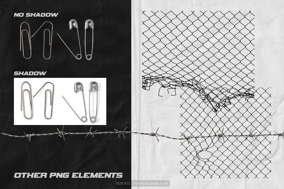 链条铁丝网别针电线条形码撕破纸片等装饰元素