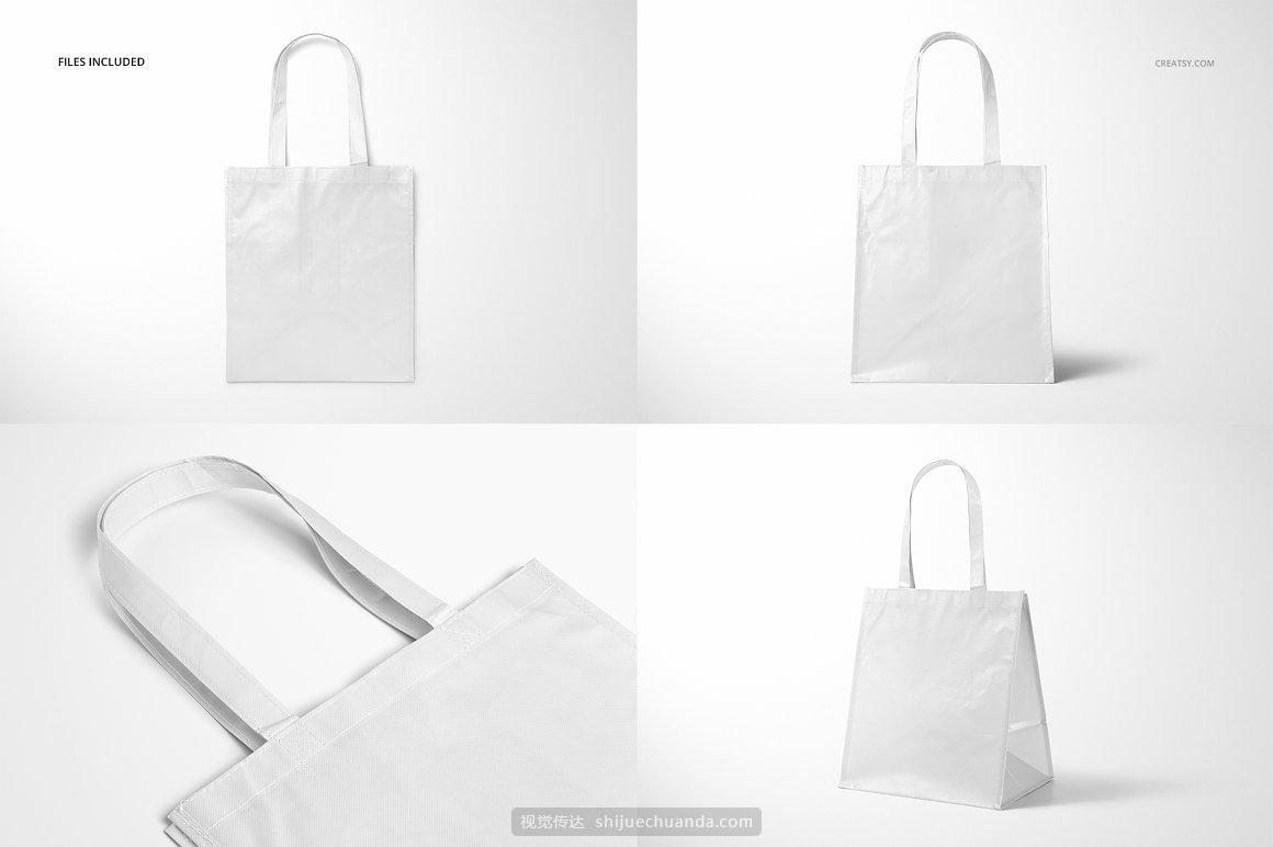 无纺布环保购物袋品牌包装样机PSD模板