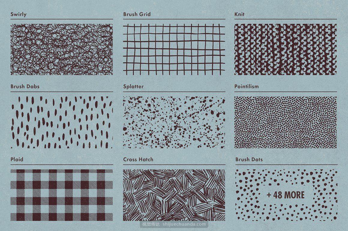复古欧普艺术仿旧噪点几何图形PS笔刷