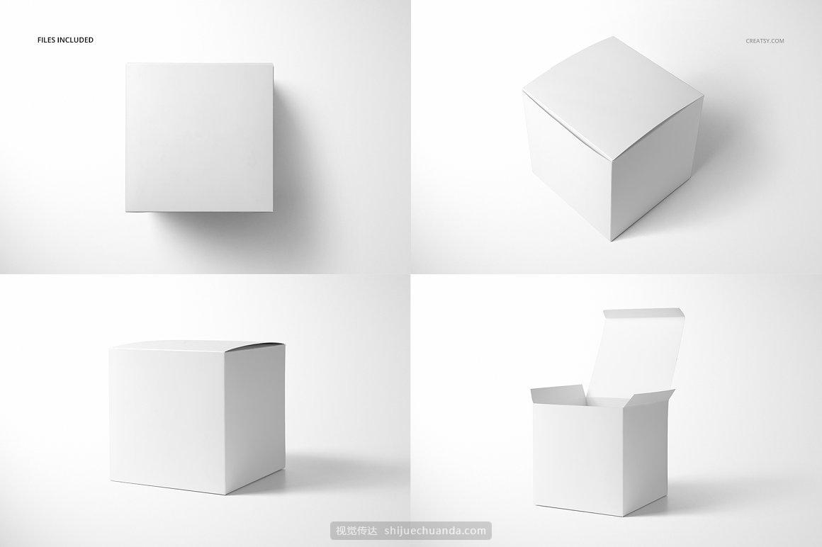 哑光礼品盒纸盒包装设计提案样机PSD模板