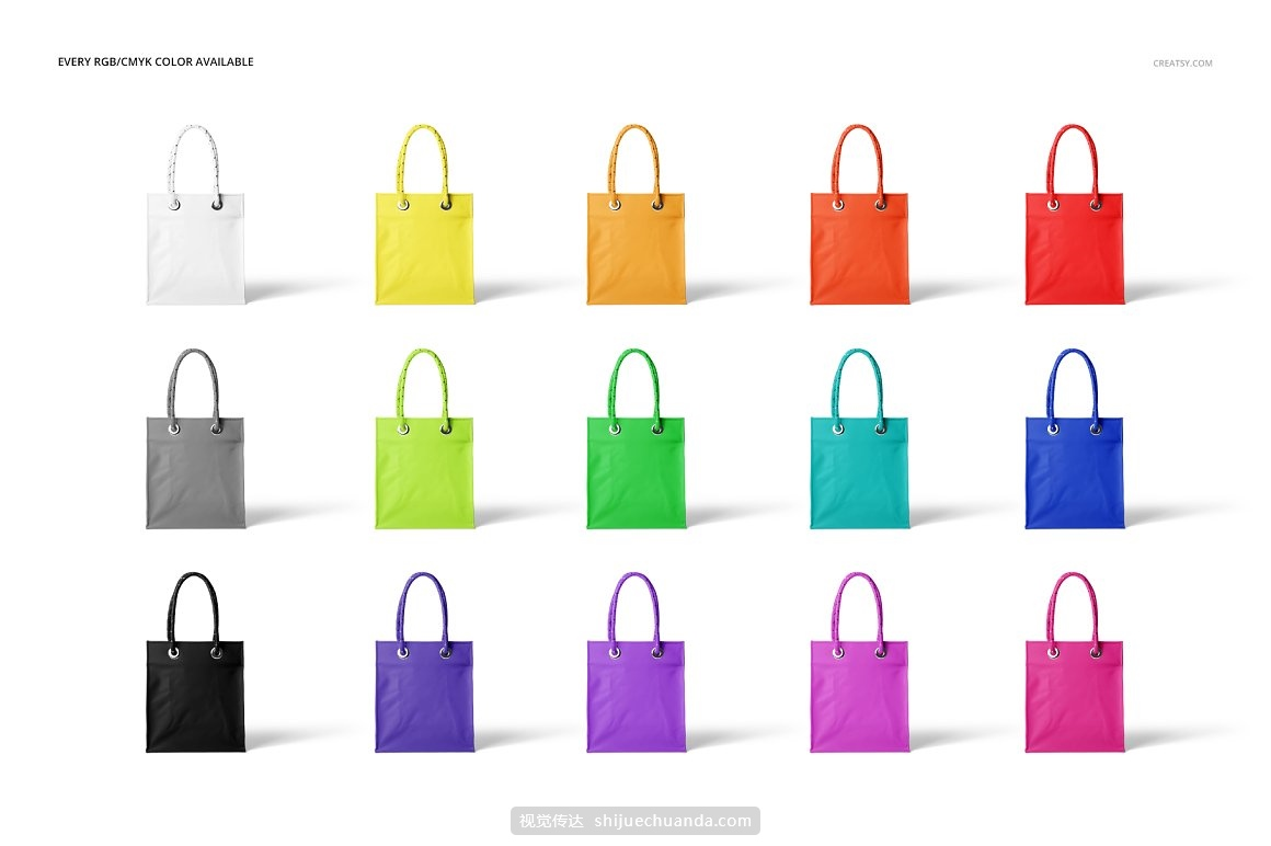 哑光PVC购物袋环保袋包装设计提案样机PSD模板