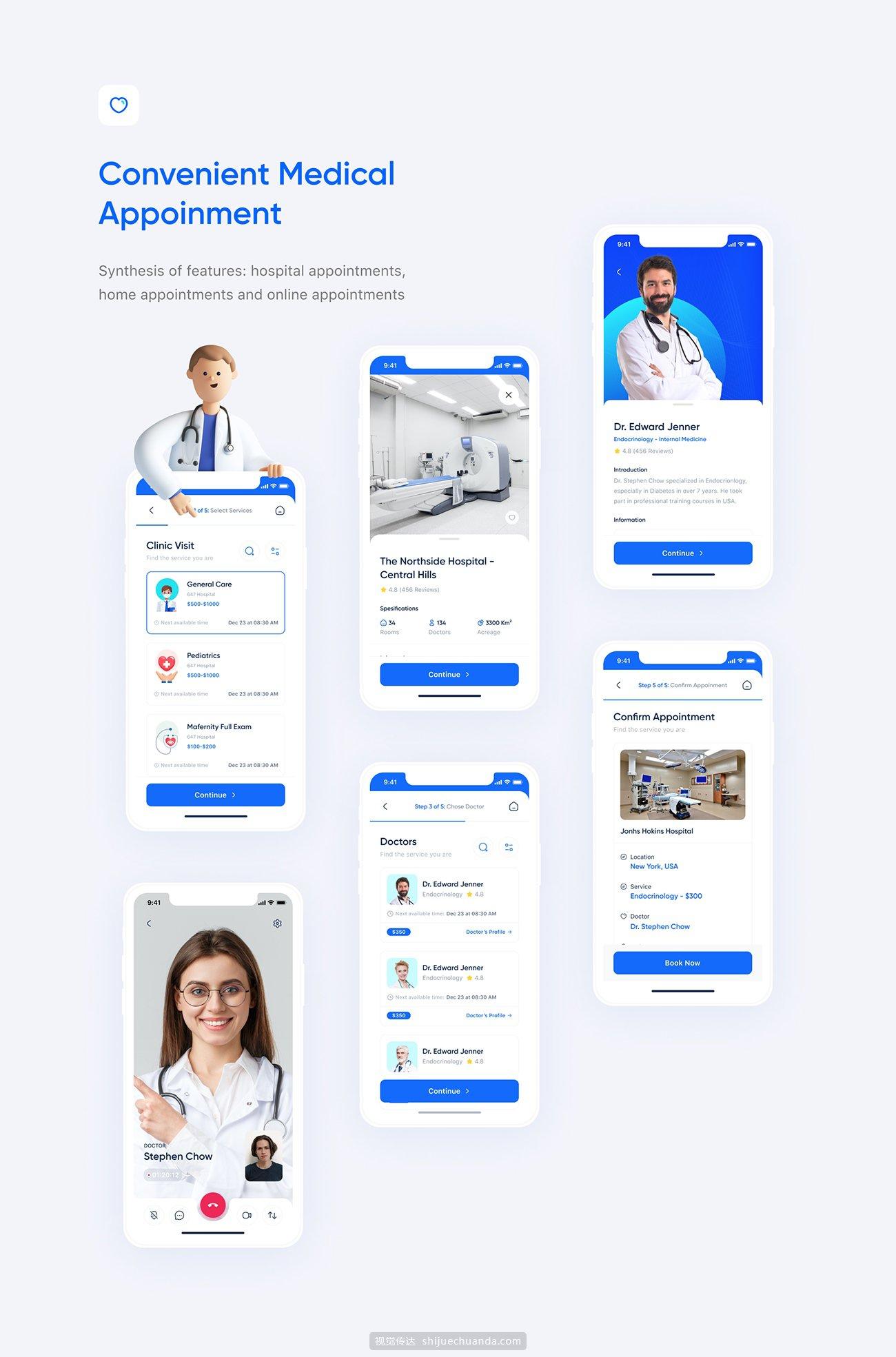 医疗健康类APP应用 UI 套件