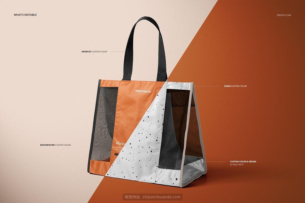 网眼透明无纺布购物手提袋包装设计样机PSD模板