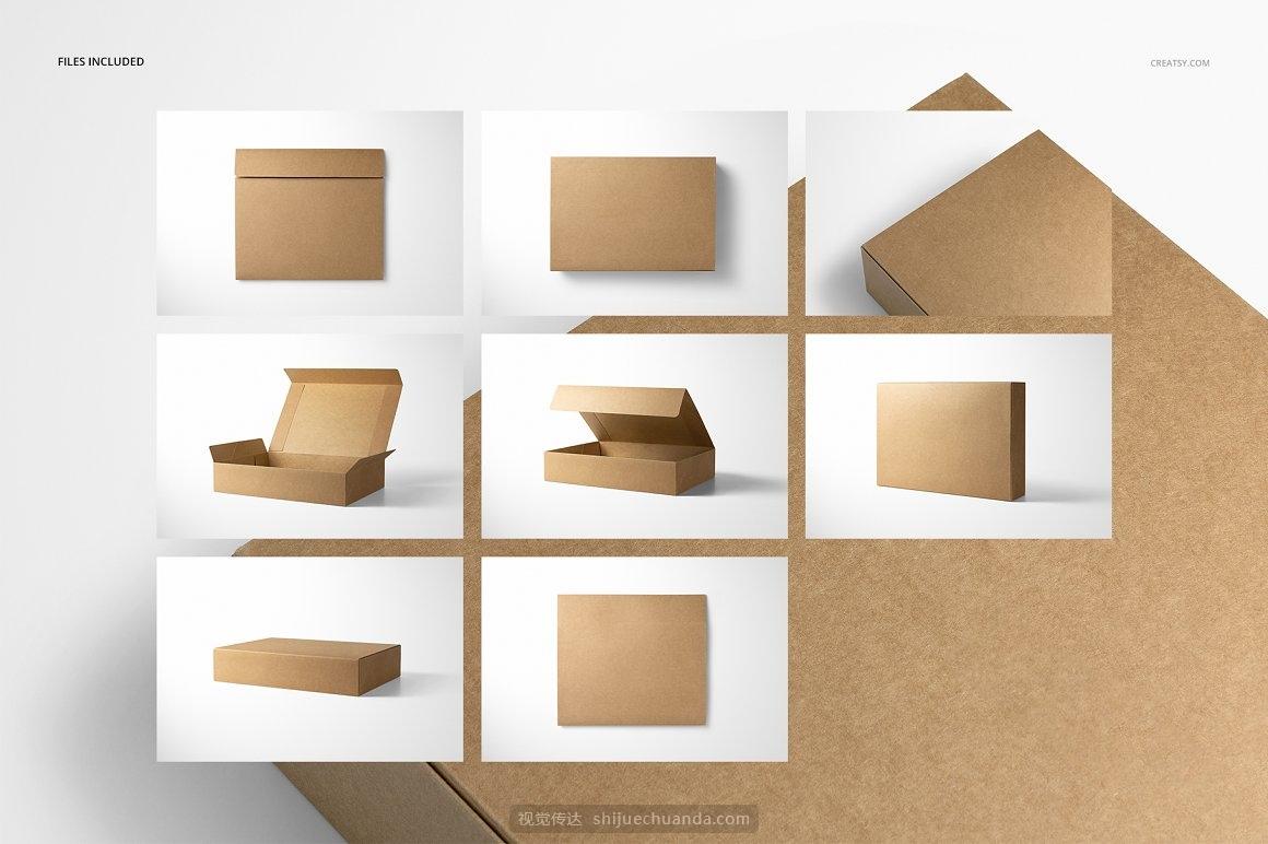 牛皮纸服饰包装盒纸盒样机PSD模板