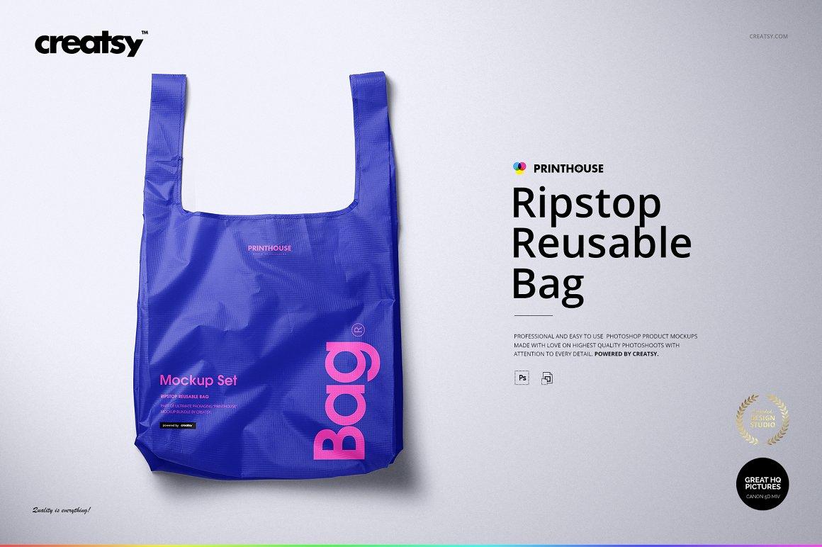 聚酯纤维环保手提购物袋包装设计样机模板