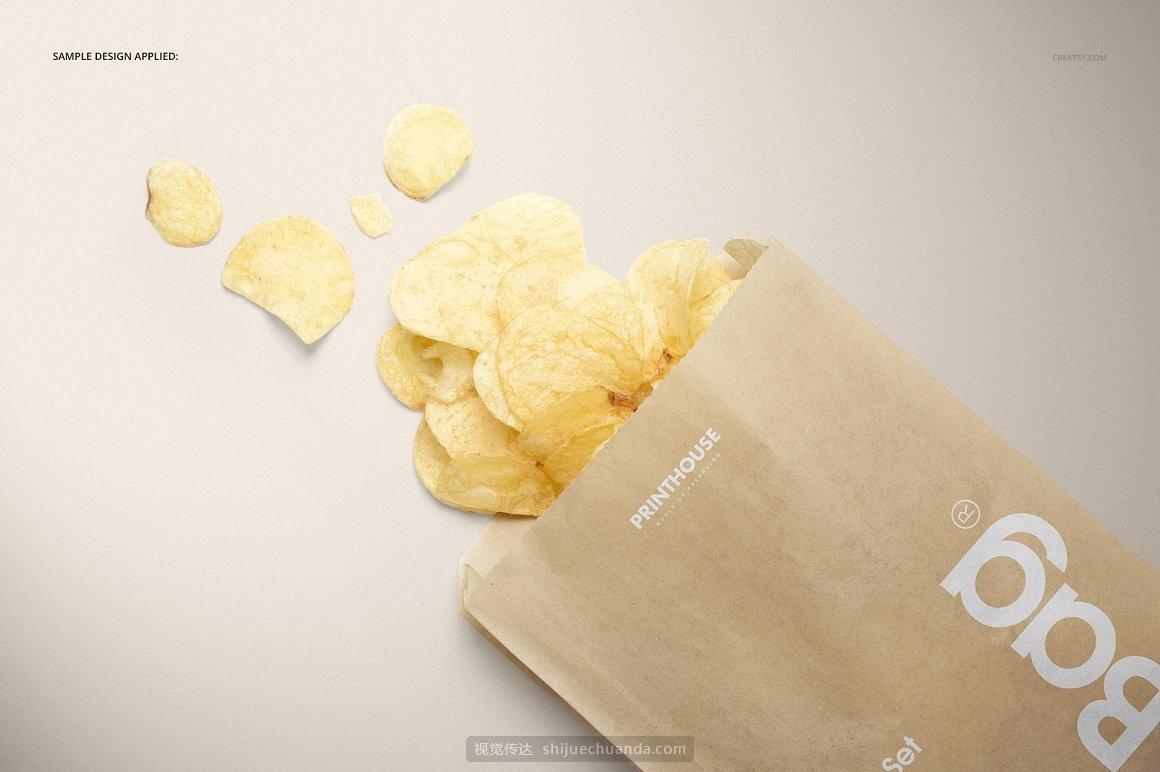 三明治零食纸袋汉堡外卖食品包装袋样机模板