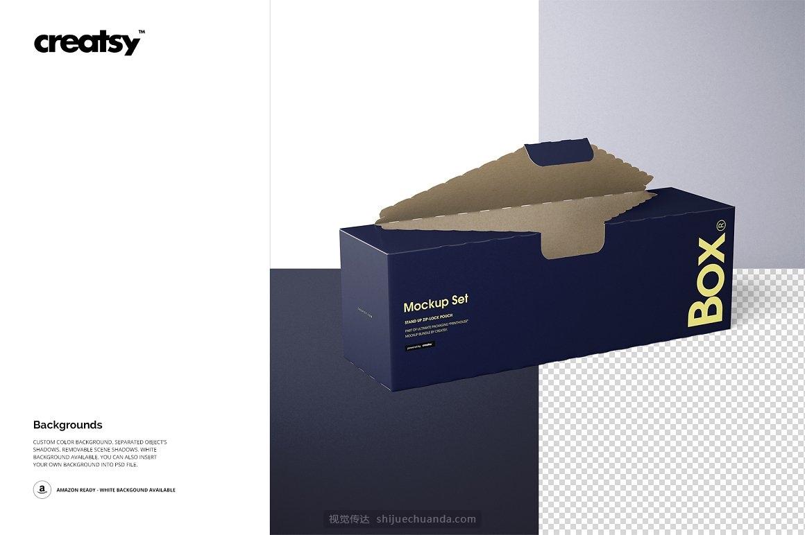 三明治食品盒面包盒包装设计样机PSD模板