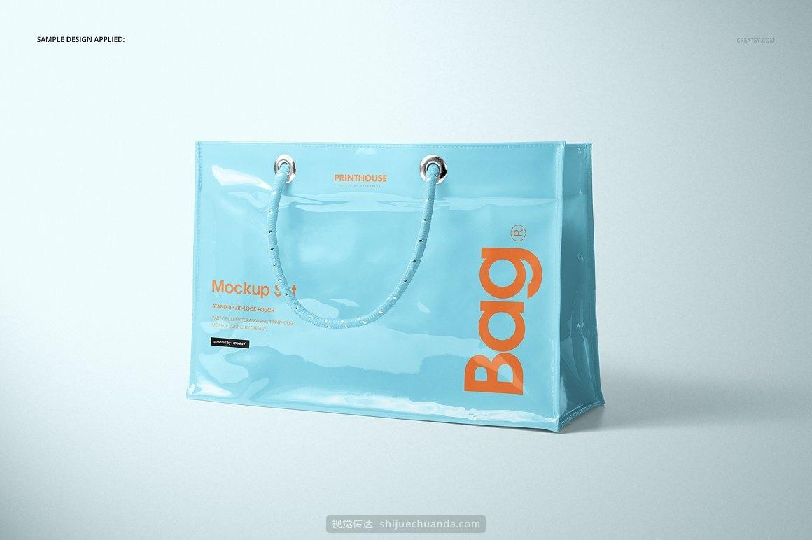 PVC购物袋环保袋包装设计提案样机PSD模板