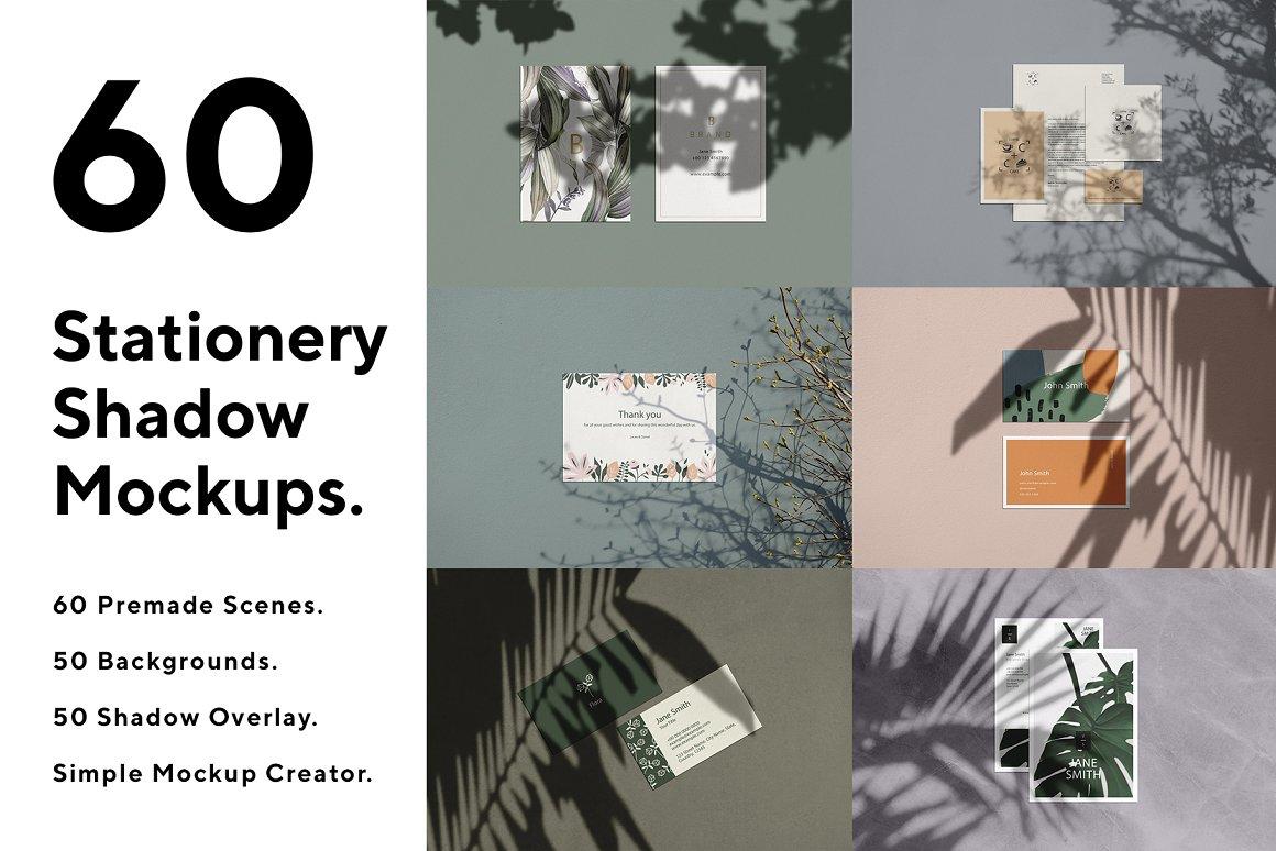 60套自然阳光植物光影品牌设计提案样机PSD模板 Stationery Mockup Scene Creator
