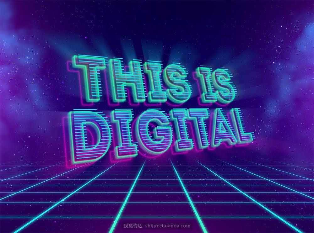80年代复古金属立体字霓虹灯字体特效PSD模板