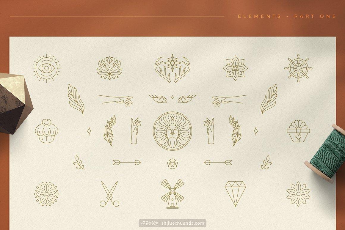 女性线性Logo标志元素集合