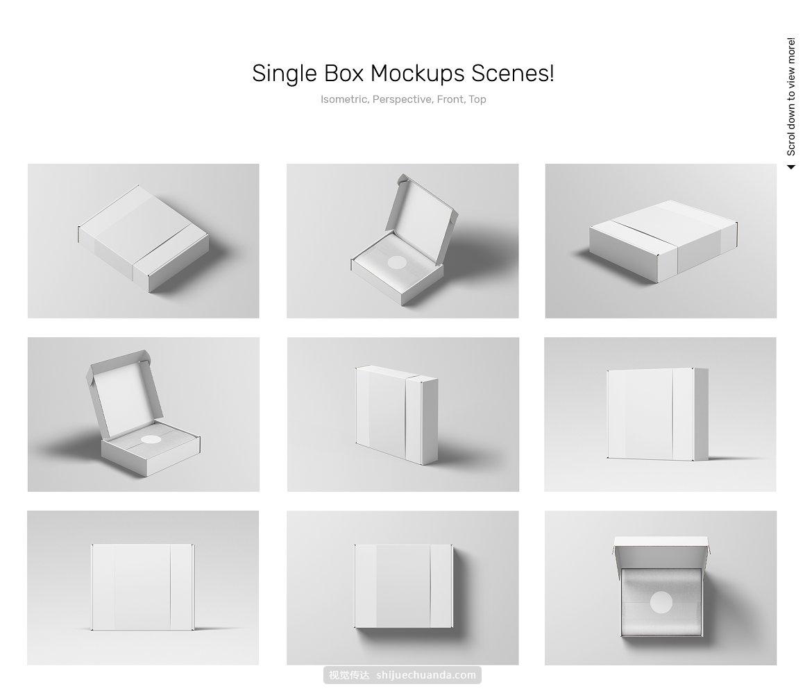 瓦楞纸牛皮纸快递盒包装箱设计场景贴图样机