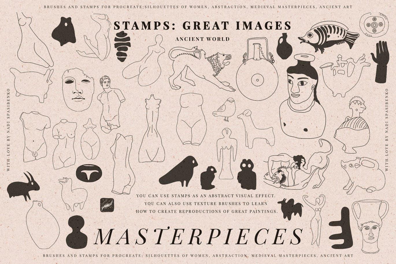 世界名画艺术人物插花PS笔刷素材