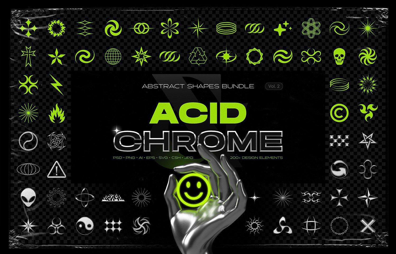 100款酸性艺术镀铬金属抽象几何形状设计装饰素材 Acid chrome abstract shapes bundle