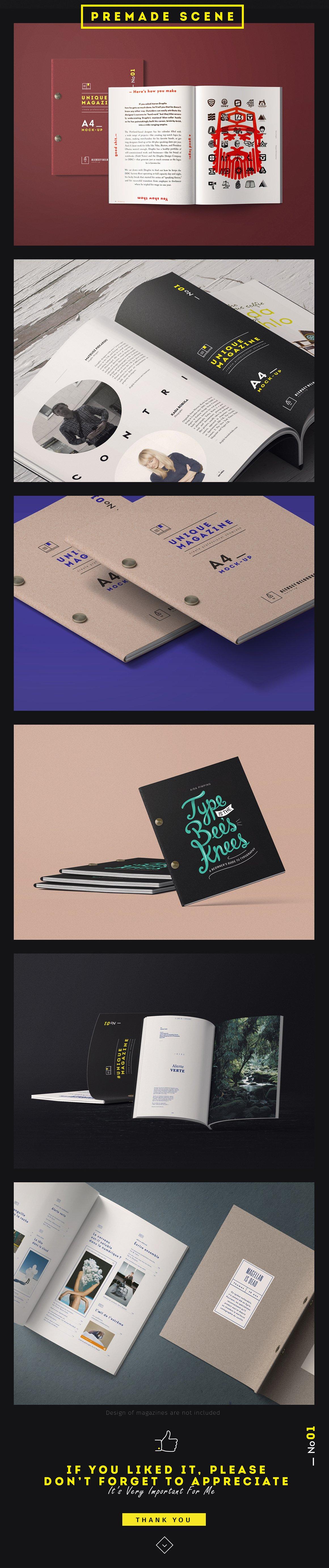 杂志画册设计场景提案样机模板