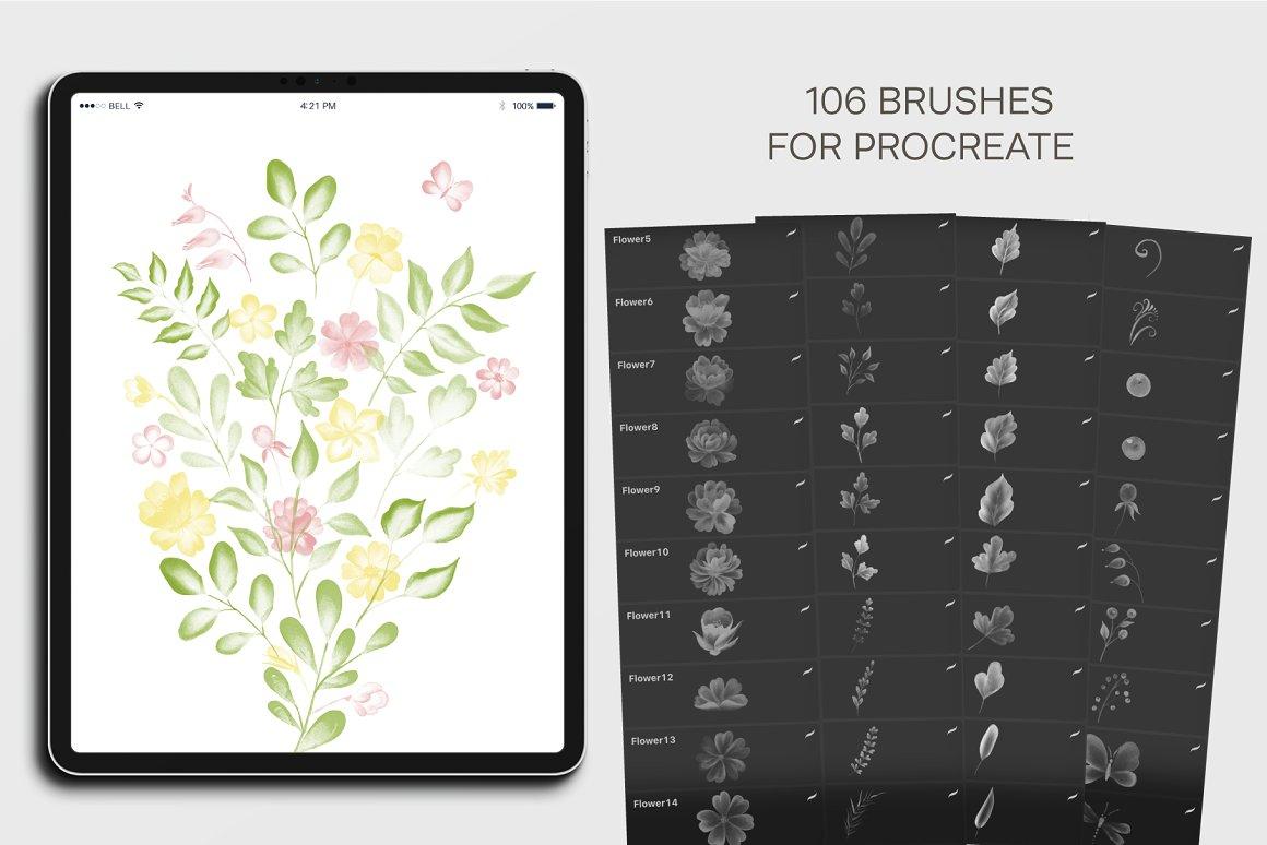 水彩花卉和树叶画笔