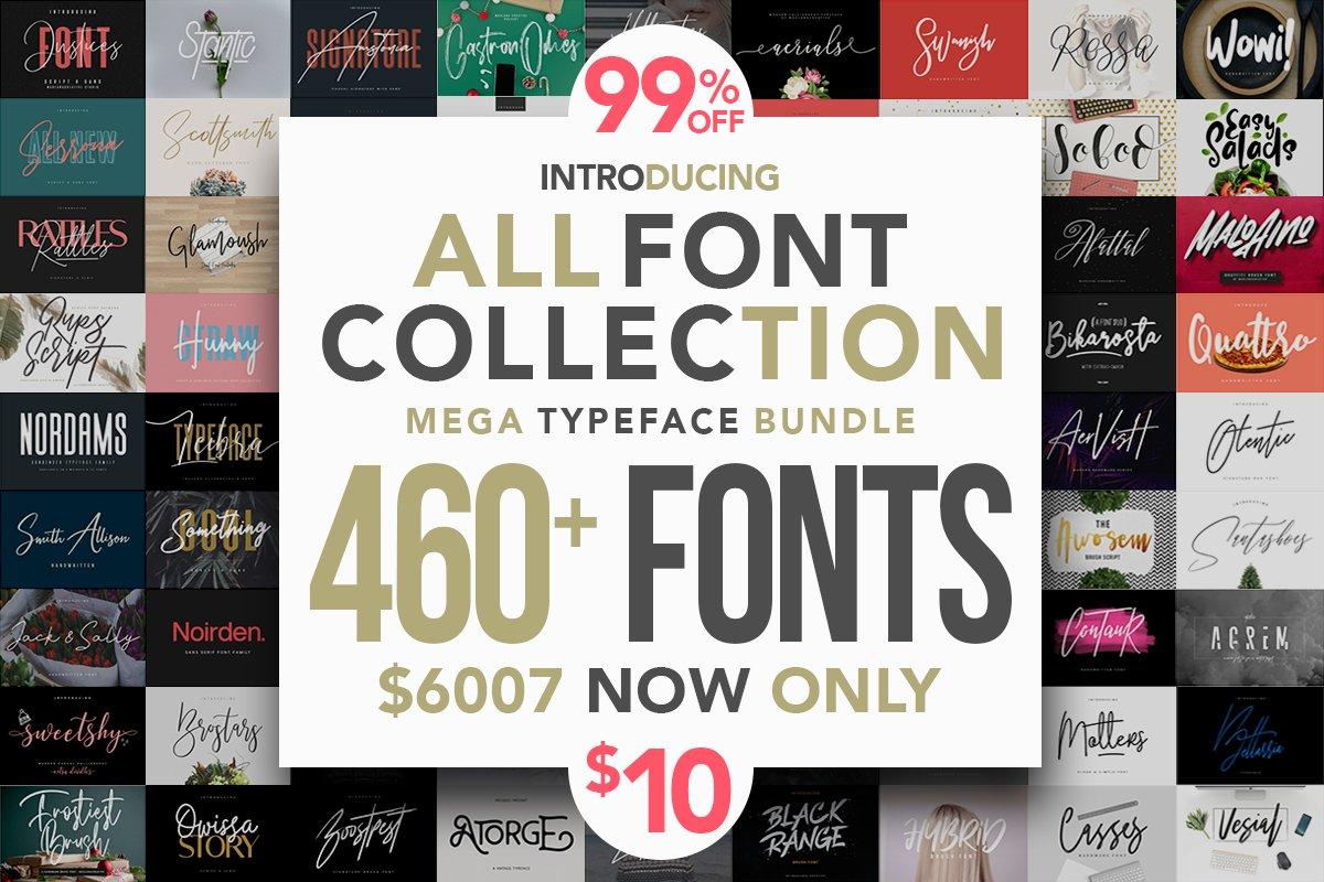460+高端英文字体包 All Fonts Collection-Mega Typeface Bundle