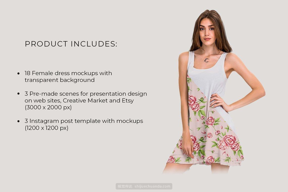 女士连衣裙服装样机模板